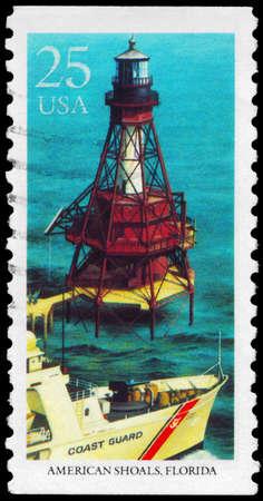 USA - CIRCA 1990: A Stamp printed in USA shows American Shoals, Florida, Lighthouses series, circa 1990 photo
