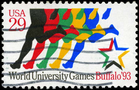 USA - CIRCA 1993: A Stamp printed in USA shows a stylized Runners, World University Games, Buffalo, circa 1993 Stock Photo - 14986958