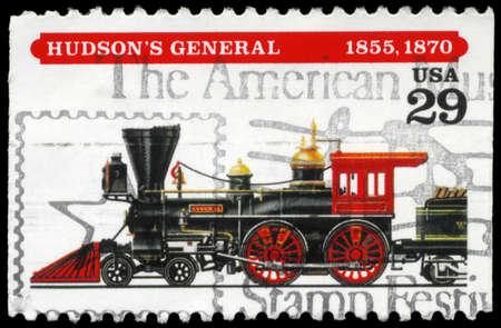 USA - CIRCA 1994: A Stamp printed in USA shows the Hudson's General locomotive, (1855, 1870), series, circa 1994 Stock Photo - 14986954