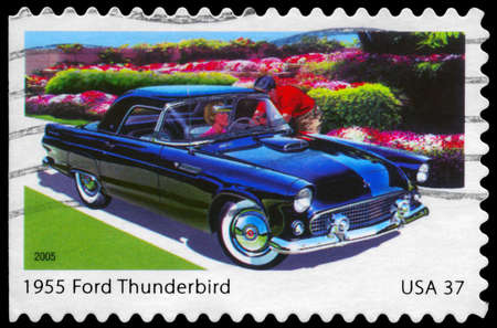 thunderbird: USA - CIRCA 2005: A Stamp printed in USA shows the Ford Thunderbird (1955), Sporty Cars of the 1950s series, circa 2005
