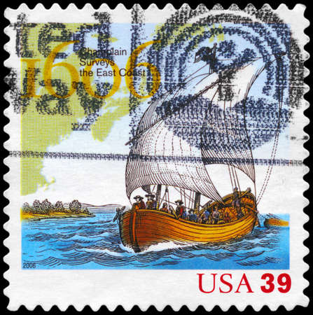 sailer: USA - CIRCA 2006: A Stamp printed in USA shows the Ship and Map, exploration of East Coast by Samuel de Champlain, 400th anniversary, circa 2006
