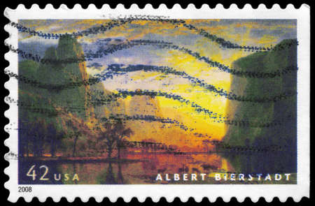 USA - CIRCA 2008: A Stamp printed in USA shows the painting Valley of the Yosemite (1864), by Albert Bierstadt (1830-1902), circa 2008 photo