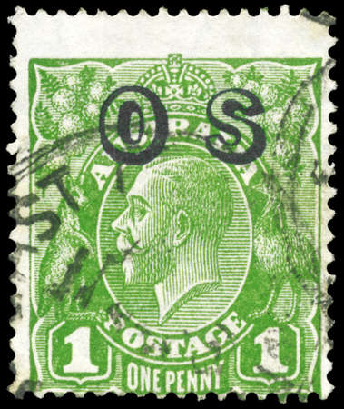 AUSTRALIA - CIRCA 1924: A Stamp printed in AUSTRALIA shows the portrait of a King George V, value of one penny, series, circa 1924 Stock Photo - 16375869