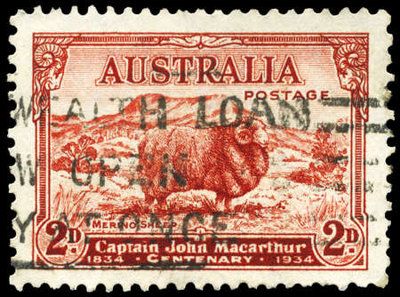 AUSTRALIA - CIRCA 1934: A Stamp printed in AUSTRALIA shows the Merino Sheep, devoted to Captain John Macarthur (1767-1834), circa 1934