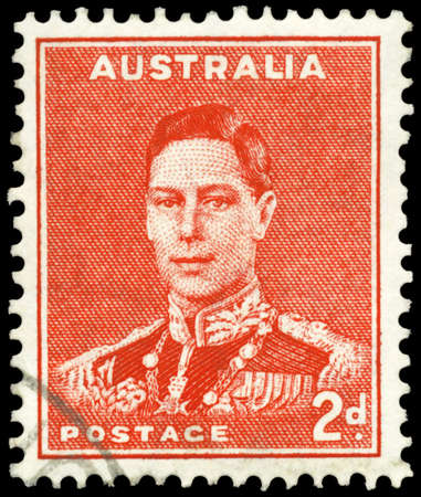 AUSTRALIA - CIRCA 1937: A Stamp printed in AUSTRALIA shows the portrait of a King George VI, series, circa 1937 Stock Photo - 16375983