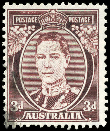 AUSTRALIA - CIRCA 1938: A Stamp printed in AUSTRALIA shows the portrait of a King George VI, series, circa 1938 Stock Photo - 16375947