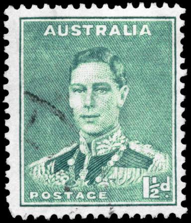 kingly: AUSTRALIA - CIRCA 1941: A Stamp printed in AUSTRALIA shows the portrait of a King George VI, series, circa 1941 Editorial