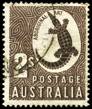 AUSTRALIA - CIRCA 1948: A Stamp printed in AUSTRALIA shows the Crocodile with the description Aboriginal Art, circa 1948