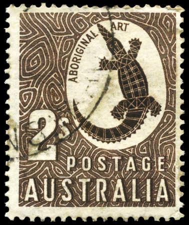AUSTRALIA - CIRCA 1948: A Stamp printed in AUSTRALIA shows the Crocodile with the description