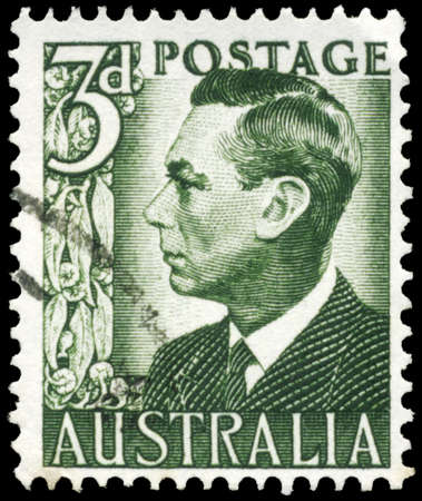 AUSTRALIA - CIRCA 1951: A Stamp printed in AUSTRALIA shows the portrait of a King George VI, series, circa 1951 Stock Photo - 16375841
