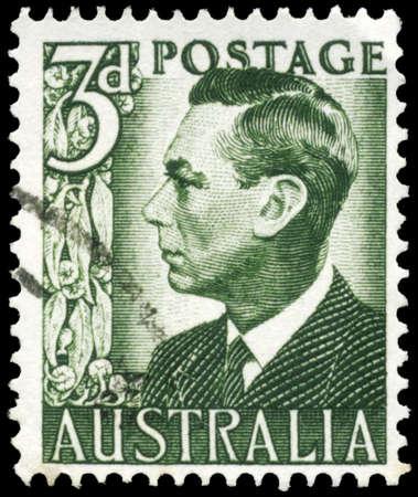 kingly: AUSTRALIA - CIRCA 1951: A Stamp printed in AUSTRALIA shows the portrait of a King George VI, series, circa 1951 Editorial