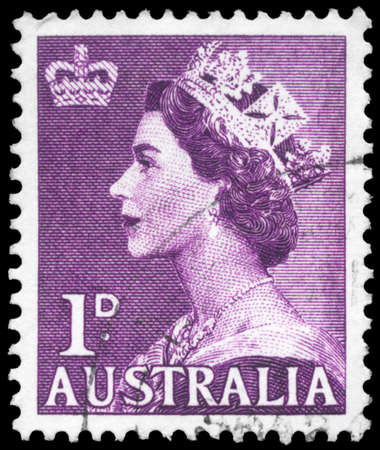 AUSTRALIA - CIRCA 1953: A Stamp printed in AUSTRALIA shows the portrait of a Queen Elizabeth II, series, circa 1953 Stock Photo - 16375909