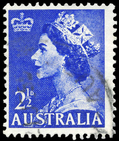 AUSTRALIA - CIRCA 1954: A Stamp printed in AUSTRALIA shows the portrait of a Queen Elizabeth II, series, circa 1954 Stock Photo - 16375991