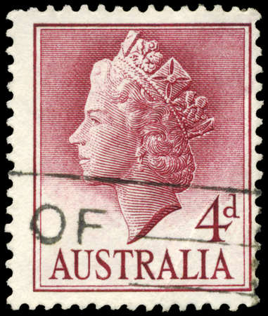 AUSTRALIA - CIRCA 1957: A Stamp printed in AUSTRALIA shows the portrait of a Queen Elizabeth II, series, circa 1957 Stock Photo - 16375793