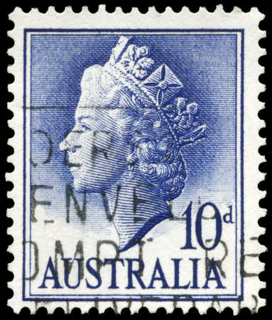 AUSTRALIA - CIRCA 1957: A Stamp printed in AUSTRALIA shows the portrait of a Queen Elizabeth II, series, circa 1957 Stock Photo - 16375868