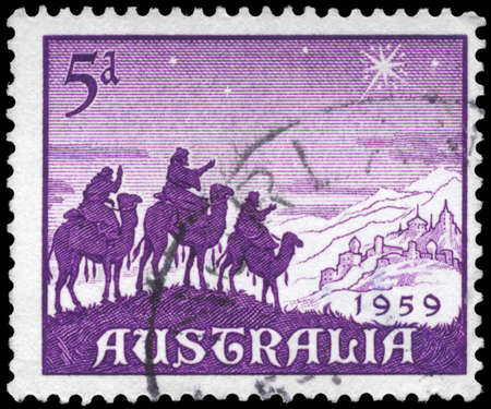 camel post: AUSTRALIA - CIRCA 1959: A Stamp printed in AUSTRALIA shows the Approach of the Magi, Christmas issue, circa 1959