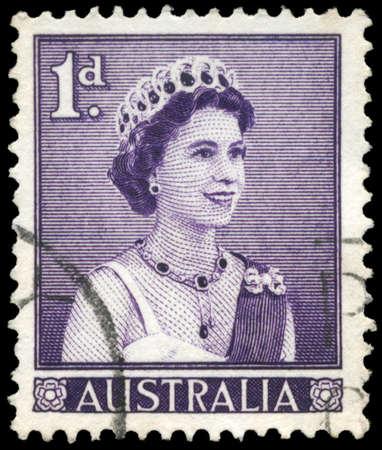 AUSTRALIA - CIRCA 1959: A Stamp printed in AUSTRALIA shows the portrait of a Queen Elizabeth II facing right, circa 1959 Stock Photo - 16375903