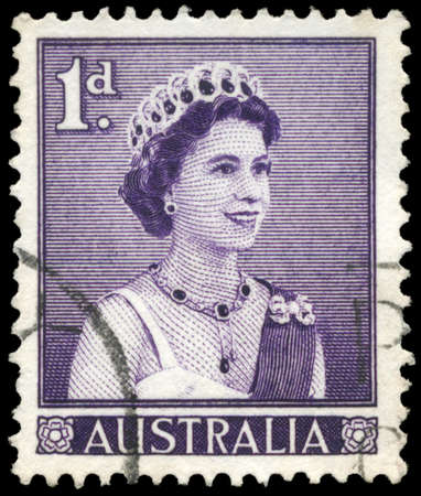 AUSTRALIA - CIRCA 1959: A Stamp printed in AUSTRALIA shows the portrait of a Queen Elizabeth II facing right, circa 1959 Stock Photo - 16375903