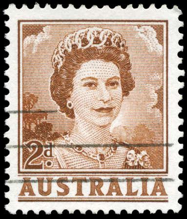 AUSTRALIA - CIRCA 1959: A Stamp printed in AUSTRALIA shows the portrait of a Queen Elizabeth II, series, circa 1959 Stock Photo - 16375863