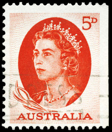 AUSTRALIA - CIRCA 1963: A Stamp printed in AUSTRALIA shows the portrait of a Queen Elizabeth II, series, circa 1963 Stock Photo - 16375842