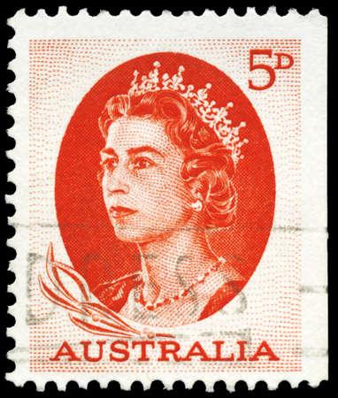 kingly: AUSTRALIA - CIRCA 1963: A Stamp printed in AUSTRALIA shows the portrait of a Queen Elizabeth II, series, circa 1963 Editorial