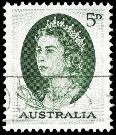 AUSTRALIA - CIRCA 1964: A Stamp printed in AUSTRALIA shows the portrait of a Queen Elizabeth II, series, circa 1964 Stock Photo - 16375816