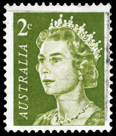 queen elizabeth: AUSTRALIA - CIRCA 1966: A Stamp printed in AUSTRALIA shows the portrait of a Queen Elizabeth II, series, circa 1966