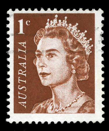 AUSTRALIA - CIRCA 1966: A Stamp printed in AUSTRALIA shows the portrait of a Queen Elizabeth II, series, circa 1966