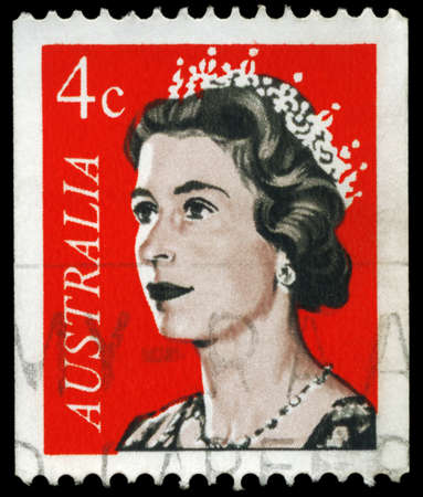 AUSTRALIA - CIRCA 1966: A Stamp printed in AUSTRALIA shows the portrait of a Queen Elizabeth II, series, circa 1966 Stock Photo - 16375795