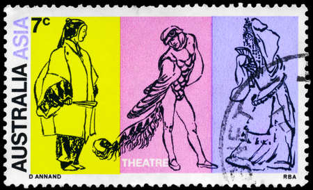 AUSTRALIA - CIRCA 1970: A Stamp printed in AUSTRALIA shows the Japanese Noh Actor, Australian Dancer and Chinese Opera Character, series, circa 1970