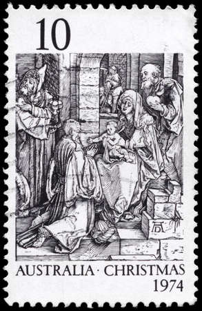 durer: AUSTRALIA - CIRCA 1974: A Stamp printed in AUSTRALIA shows the Adoration of the Kings, by Durer, Christmas issue, circa 1974