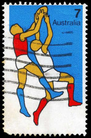 AUSTRALIA - CIRCA 1974: A Stamp printed in AUSTRALIA shows the Australian Football, Sport series, circa 1974 Stock Photo - 16375819