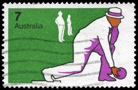bowl game: AUSTRALIA - CIRCA 1974: A Stamp printed in AUSTRALIA shows the Bowls, Sport series, circa 1974 Editorial