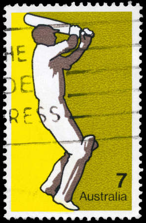 AUSTRALIA - CIRCA 1974: A Stamp printed in AUSTRALIA shows the Cricket, Sport series, circa 1974