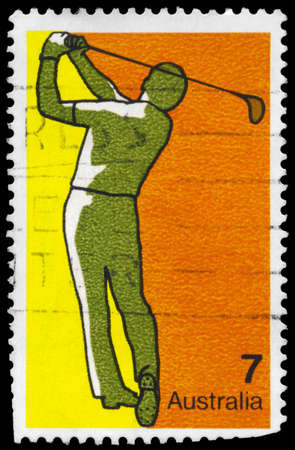 AUSTRALIA - CIRCA 1974: A Stamp printed in AUSTRALIA shows the Golf, Sport series, circa 1974