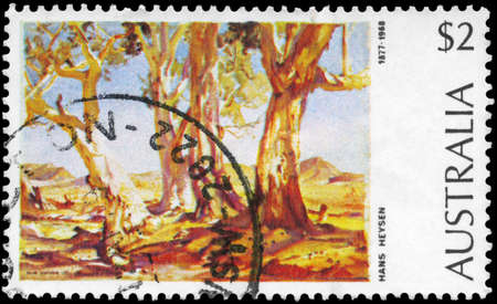 AUSTRALIA - CIRCA 1974: A Stamp printed in AUSTRALIA shows the Red Gums of the Far North, by Hans Heysen (1877-1968), Paintings series, circa 1974