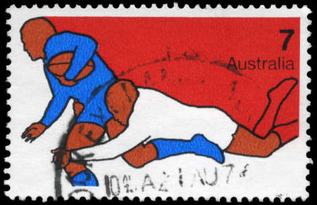 AUSTRALIA - CIRCA 1974: A Stamp printed in AUSTRALIA shows the Rugby, Sport series, circa 1974