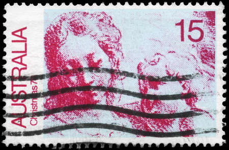 simone: AUSTRALIA - CIRCA 1976: A Stamp printed in AUSTRALIA shows the Virgin and Child, after Simone Cantarini, Christmas issue, circa 1976