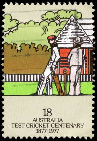 an umpire: AUSTRALIA - CIRCA 1977: A Stamp printed in AUSTRALIA shows the Umpire & 2nd Batsman, Centenary of Test Cricket, series, circa 1977