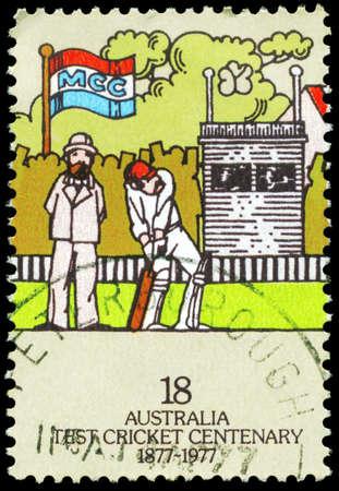AUSTRALIA - CIRCA 1977: A Stamp printed in AUSTRALIA shows the Batsman, Centenary of Test Cricket, series, circa 1977 Stock Photo - 16375864