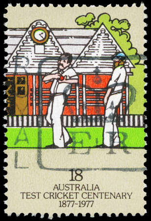 AUSTRALIA - CIRCA 1977: A Stamp printed in AUSTRALIA shows the Bowler, Centenary of Test Cricket, series, circa 1977 Stock Photo - 16375845