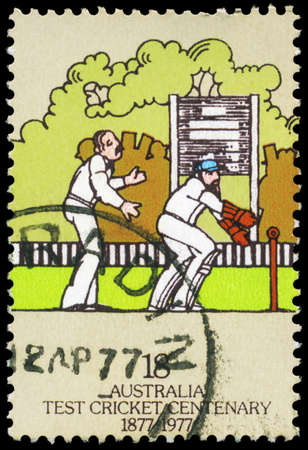 AUSTRALIA - CIRCA 1977: A Stamp printed in AUSTRALIA shows the Wicket-keeper and Score Board, Centenary of Test Cricket, series, circa 1977 Stock Photo - 16375855