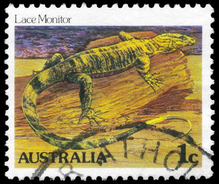 AUSTRALIA - CIRCA 1981: A Stamp printed in AUSTRALIA shows the Lace Monitor, series, circa 1981 Stock Photo - 16375996