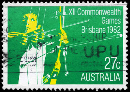 AUSTRALIA - CIRCA 1982: A Stamp printed in AUSTRALIA shows the Archery, 12th Commonwealth Games, Brisbane, series, circa 1982