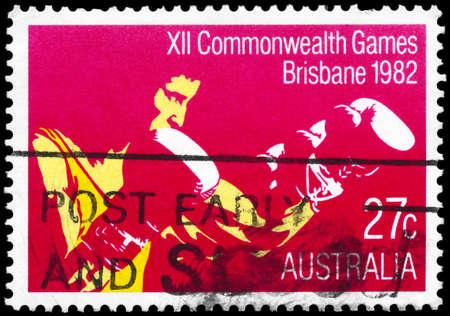 pugilist: AUSTRALIA - CIRCA 1982: A Stamp printed in AUSTRALIA shows the Boxing, 12th Commonwealth Games, Brisbane, series, circa 1982