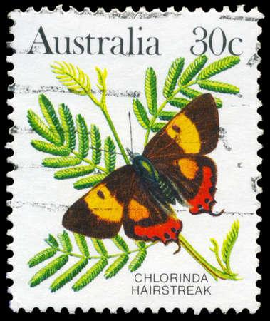AUSTRALIA - CIRCA 1983: A Stamp printed in AUSTRALIA shows the Chlorinda Hairstreak (Pseudalmenus chlorinda), series, circa 1983