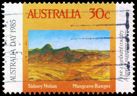 sidney: AUSTRALIA - CIRCA 1985: A Stamp printed in AUSTRALIA shows the Musgrave Ranges, by Sidney Nolan (1917-1992), Australia Day series, circa 1985 Editorial