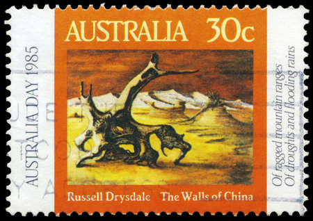 AUSTRALIA - CIRCA 1985: A Stamp printed in AUSTRALIA shows the Walls of China, by Russell Drysdale (1912-1981), Australia Day series, circa 1985