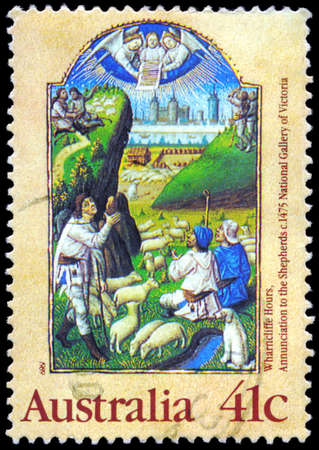 herder: AUSTRALIA - CIRCA 1989: A Stamp printed in AUSTRALIA shows the Annunciation to the Shepherds, from the Wharncliffe Hours, series, circa 1989