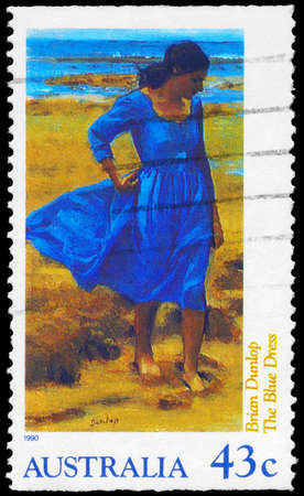 AUSTRALIA - CIRCA 1990: A Stamp printed in AUSTRALIA shows the Blue Dress by Brian Dunlop, circa 1990 Stock Photo - 16376063